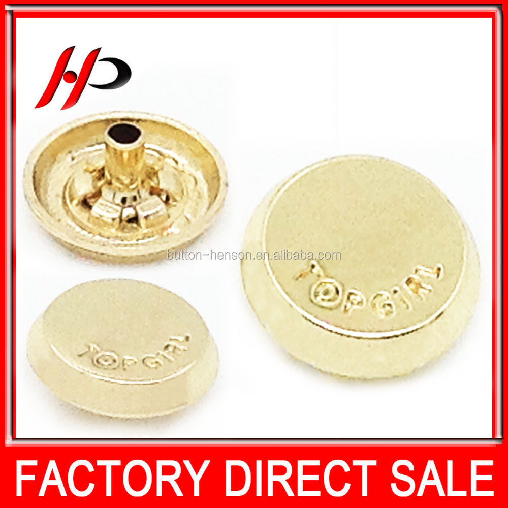 Fashion 15mm gold round alloy decorative snap button covers