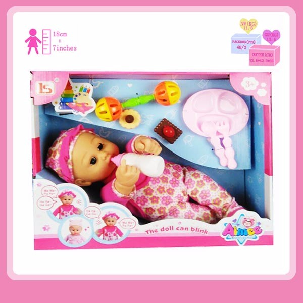 Top Selling Beautiful Soft Cotton 16 Inch Cute Baby Doll with 4 Sounds IC and Accessories