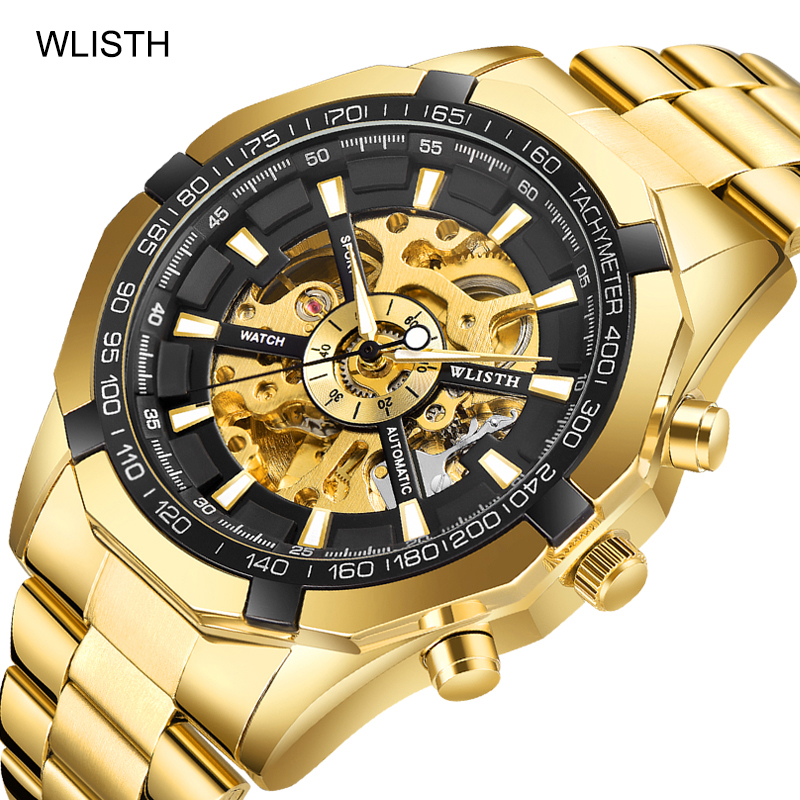 Luxury men's automatic mechanical watch gold watch <strong>stainless</strong> <strong>steel</strong> belt business sports watch male hollow through the bottom
