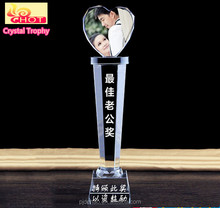 Hot Sale Top Quality Handmade 3D Laser Heart Crystal Glass Award Trophy wedding souvenirs