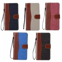 Dual Mixed Color Jeans Leather Case for samsung S7 plus, leather filio flip for samsung s7 plus wallet case