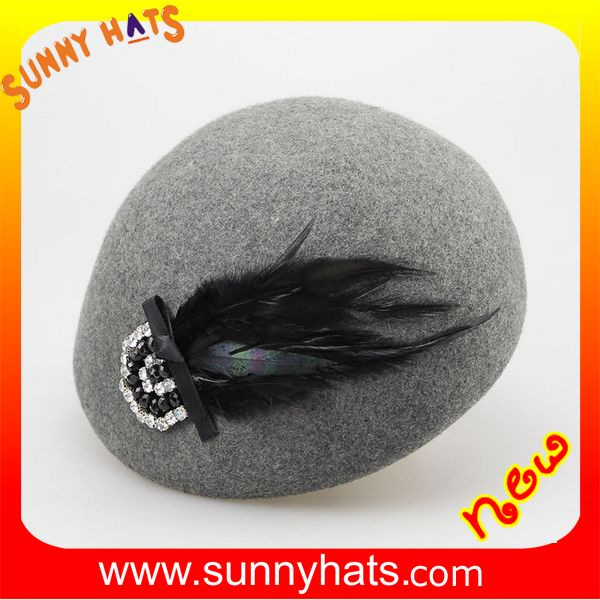 Wholesale 100% Wool Felt Elegant Hats For Women Decorate Feather