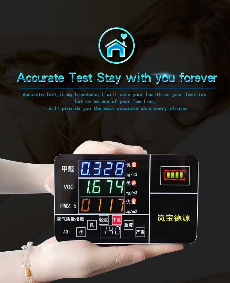 Lithium Battery Chargable Accurate Indoor Home Air Quality Detector