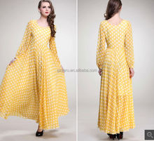 long sleeve muslim chiffon maxi dress manufacturers