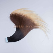 Hot Selling Full Cuticle One Donor 100% Virgin Brazilian Hair Extensio #1 1B #2 3 Tones Ombre Hair 7A Tape Hair Extension
