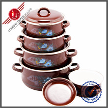 New Products China Supplier 5 Piece Enamel Ceramic Coated Cookware