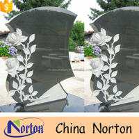 Wholesale cheap granite carved rose headstone NTGT-390A