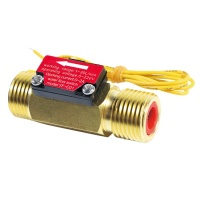 SEA YF-C01 0-220V Liquid Water Flow Sensor Switch G1/2 Thread Ports Brass Shell