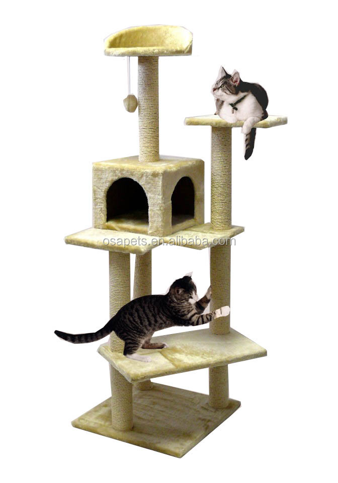 high mansion climbing staire plush OEM Sisal cat tree with cradle bed