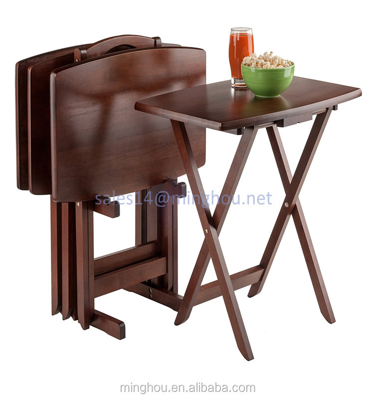 Portable wooden Snack Bed Dinner Folding TV Tray Set with Stand