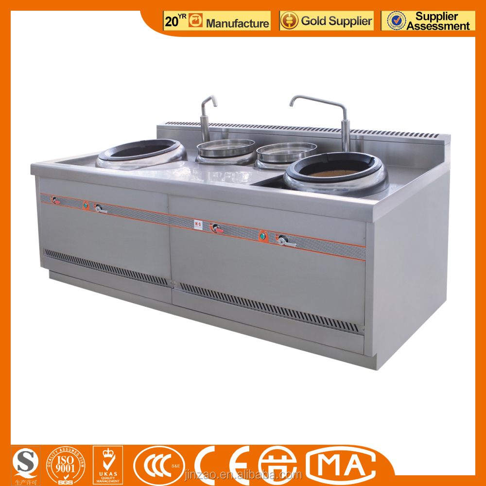 JINZAO ECR-2-OK(E)-N Chinese Fried Stove double burners & double steam pots Stove Open style Environmental Natural Gas(Security)