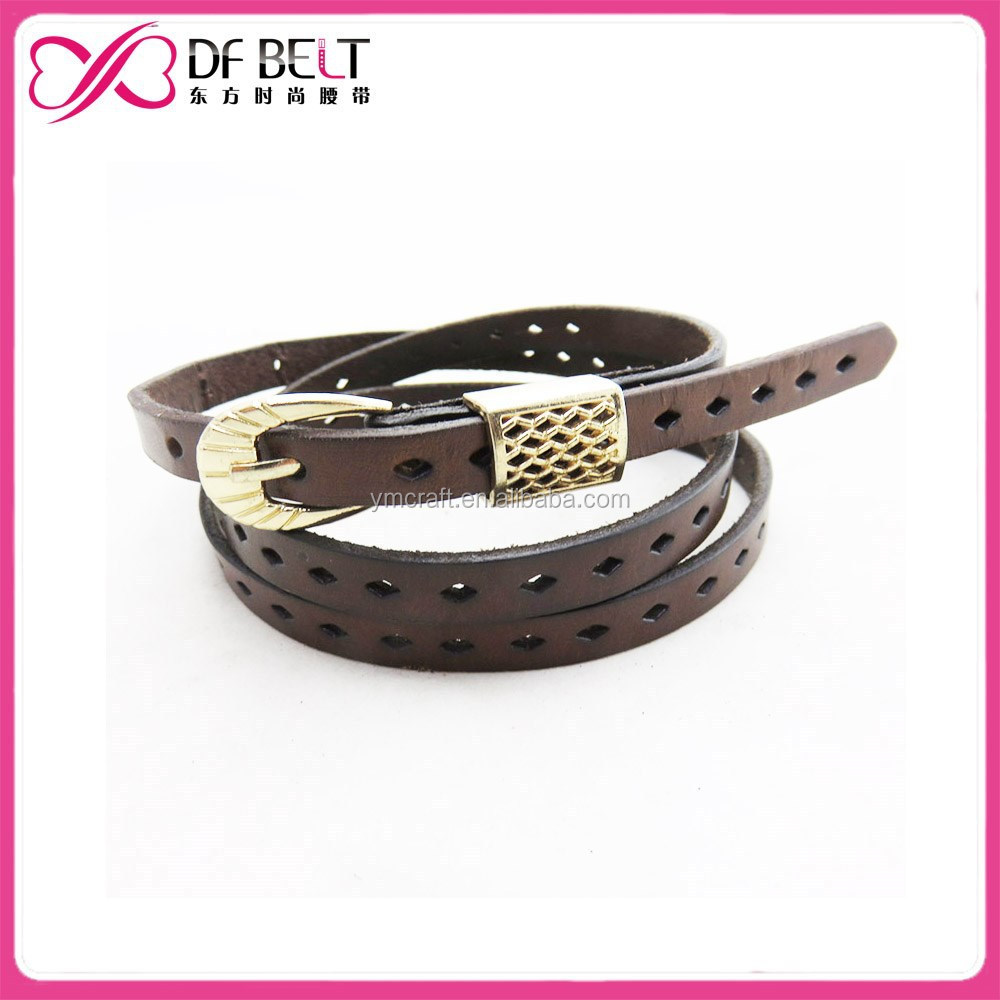 2015 lady's Diamond perf golden buckle pu leather skinny belt
