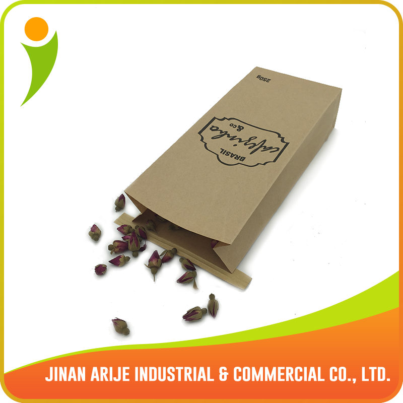 2015 customized coffee paper bag with horizontal tin tie