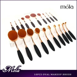 High quality 10pcs Shiny rose gold ABS materail handler oval brush with white box