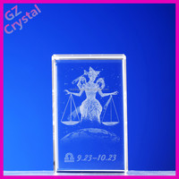 Meaningful figure 3D laser crystal wedding anniversary souvenir