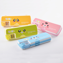 2017 most popular cute emoji designs double sides hard plastic stationery pencil cases