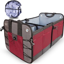 600 D Polyester Foldable Portable 3-Compartment Car Trunk Organizer