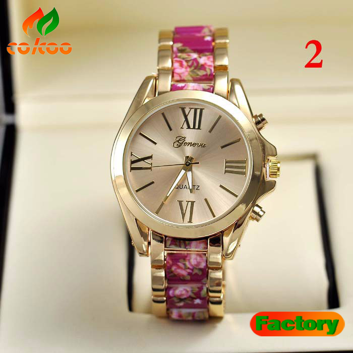 2015 New Fashion Women's Metal Geneva Floral Watch Flower Print Gold Stainless Steel Ladies Watch 5 Colors