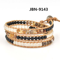 Jewelry making supplies natural bead braided leather wrap bracelet
