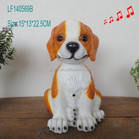 Resin gift craft dogs figurines with sensor and moving head from China supplier