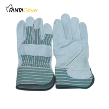10.5'' Cow split leather full palm rubberized work gloves