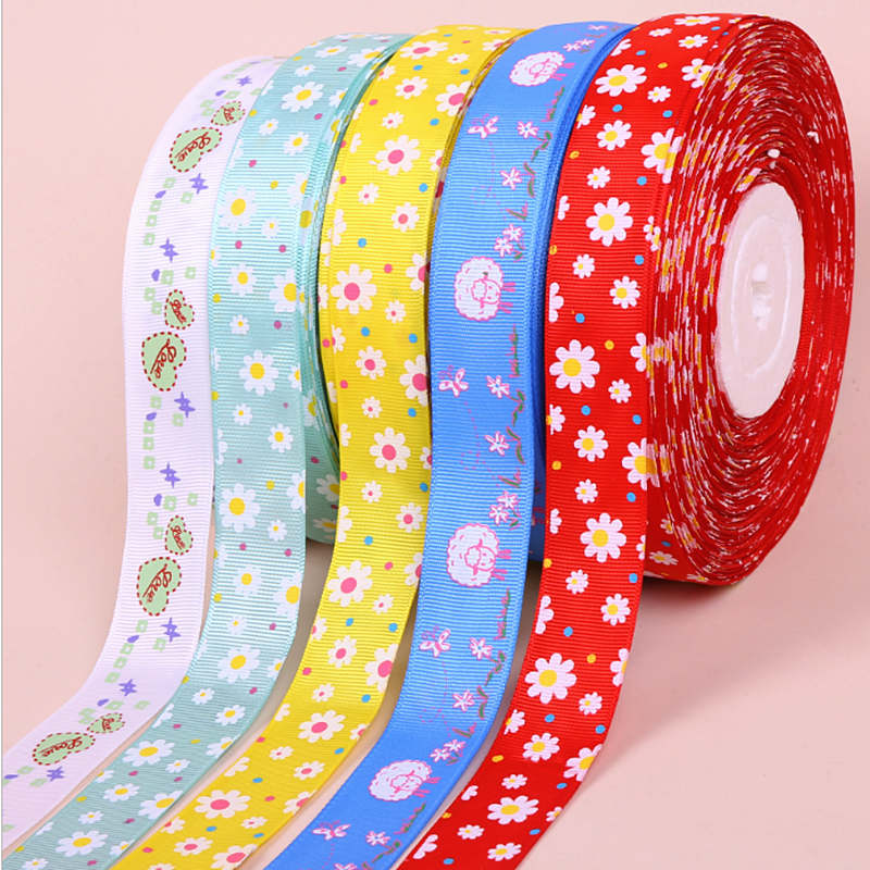 OEM stock wholesale 25mm striped grosgrain ribbon