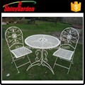 white bistro set, metal mesh chair outdoor, bistro dining set ,cast iron bistro set