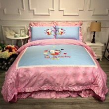 Hello kitty pattern 4-pieces bed setting duvet cover flat sheet