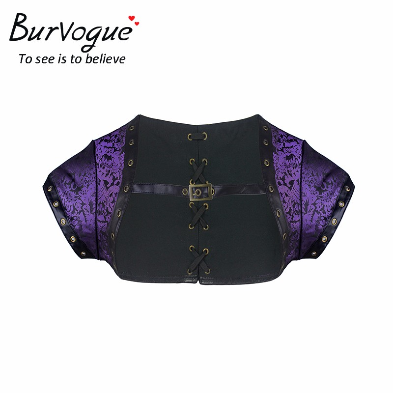 Burvogue Plus Size Short Sleeve Gothic Steampunk Corsets Jacket Bolero Steampunk Top Waist Trainer Wholesale