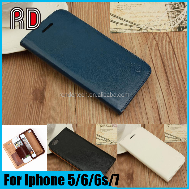 Genuine Leather Card Phone Case Wallet Card Slots Leather Phone Flip Back Cover Case For iphone 6 5 4