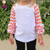 Wholesale monogram blanks icing ruffle shirts infant clothes orange white chevron sleeve infant embroidered raglan tee shirts