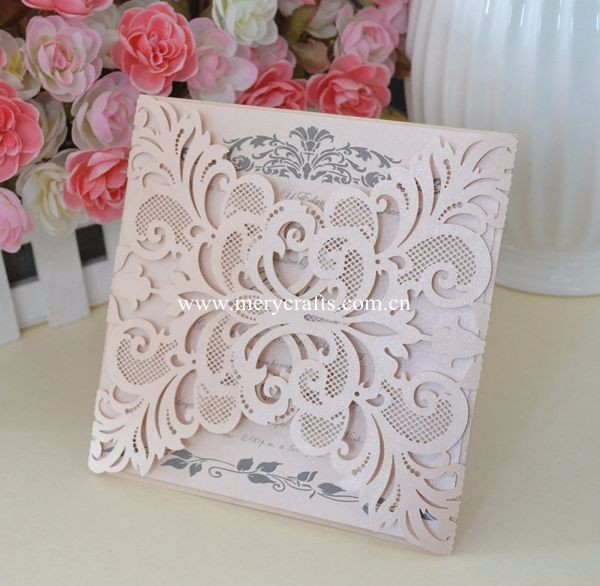 High quality wholesale laser cut mint green wedding invitation cards for wedding decoration