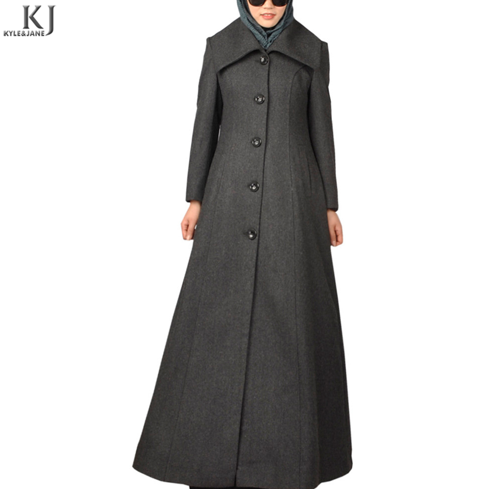 Hotsale grey button down front open winter coat women islamic full length Dubai Abaya New Design For Ladies Islamic Clothing