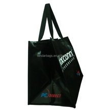 Black Plastic PP Coated Woven Bag Shopping Tote Bag