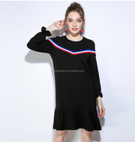OEM wholesale hip hop amercican girl doll in curved hem t shirt dress with red and blue band