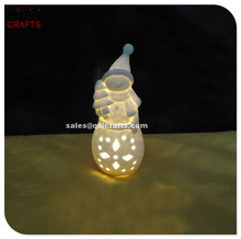 Ceramic crafts Christmas snowman with LED DIY bisque snowman