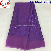 CL14-207 New design good quality purple net french lace fabric for sale