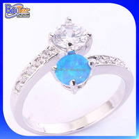 New Arrival!! CZ & Blue Fire Opal Ring,Silver Two Stone Finger Ring,925 Sterling Silver Jewelry 2 Stone Mothers Ring