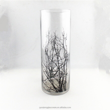 2017 Hotsale high cylinder glass vase The branches with decal