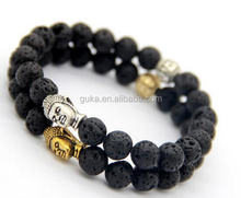 fashion jewelry Lava stone beads antique zinc alloy buddha bracelet