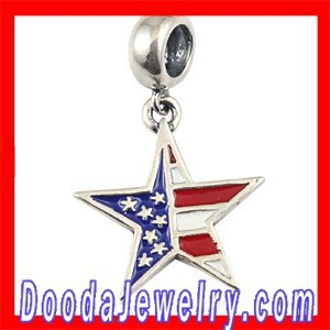 925 Sterling Silver Patriotic Stars and Stripes American Flag Dangle Charms