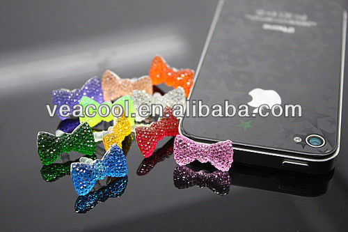 Bling Bow 3.5mm Anti Dust Proof Ear Cap Plug Cover For iPhone 5 3S 4S