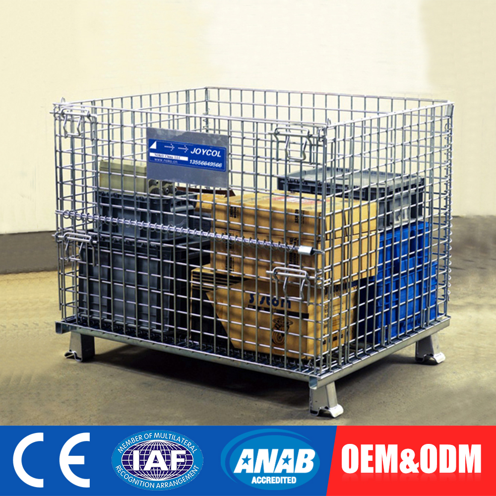 Custom Fitted Equipment Rolling Metal Storage Foldable Stacking Steel Cage