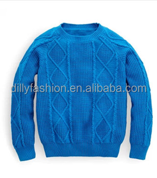 2017 New Designs Kid Sweater Cable Cashmere Round Neck Sweater Baby Boy