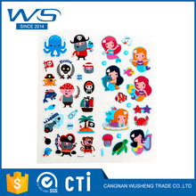 Newest Eco-Friendly Waterproof Transparent Pvc 3D Cartoon Puffy Sticker For Kids