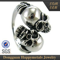 Advertising Promotion Stainless Steel Customized Lasered Logo 3 Headed Skull Ring For Sale