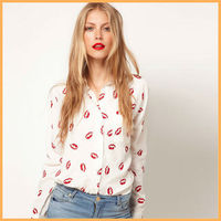 New arrive lip print chiffon blusas woman