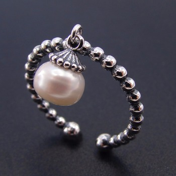925 Sterling Silver Freshwater Pearl Retro Open Adjustable Ring, Dainty Pearl Charm Ring