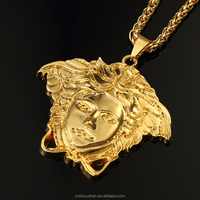 Hip Hop Gold Plated Men Jewelry Big Pendant Necklace Chain Necklaces & Pendants