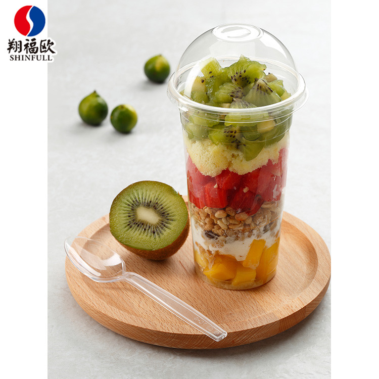 Body stiffness PP plastic disposable jelly fruit salad cup 585ml tall plastic fruit cinema cups container with domed lids